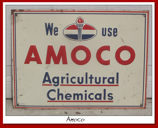 AMOCO Agricultural Chemicals. SS Embossed painted tin