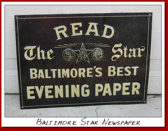 "Baltimore Star Newspaper Circa 1935 SST embossed 10""x14"""