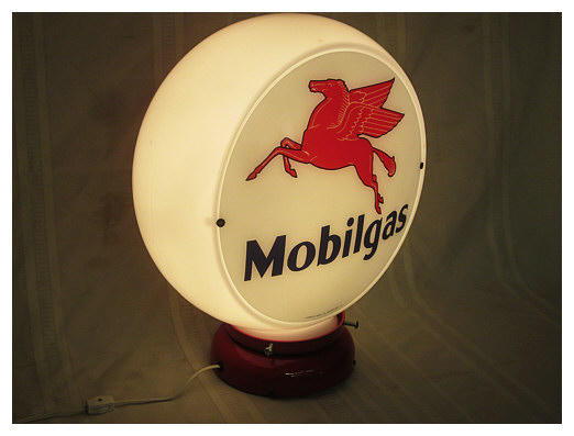 mobil gas lighted globe