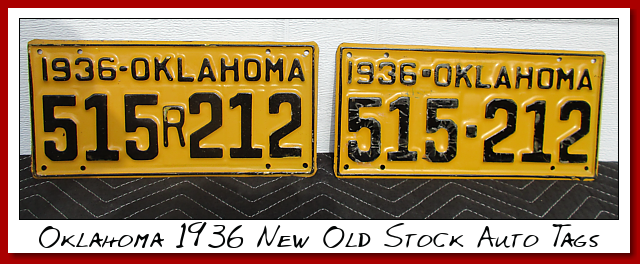 Oklahoma....1936...New Old Stock Auto tags