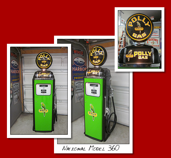 National Model 360 gas pump. Restored to Poly Gasoline This pump is circa 1955